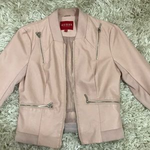 Guess Jackets & Coats - Guess pink leather jacket